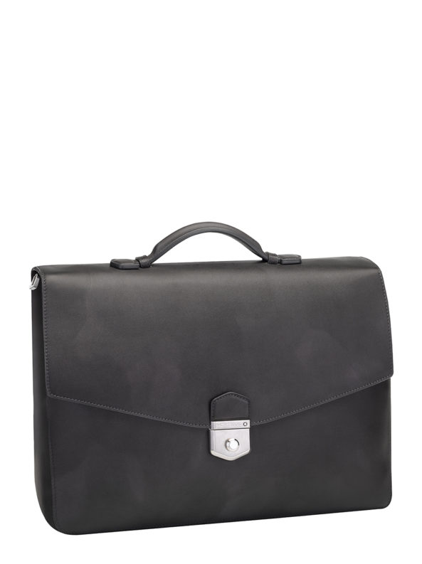 LEATHER MEISTERSTUCK SFUMATO BRIEFCASE SINGLE GUSSET GREY