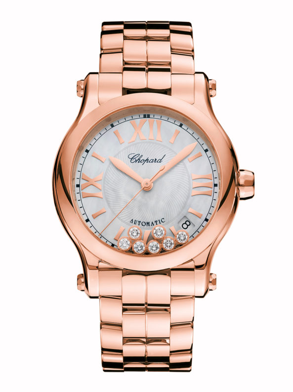 Happy Sport 36 mm automatic 18k rose gold and diamonds