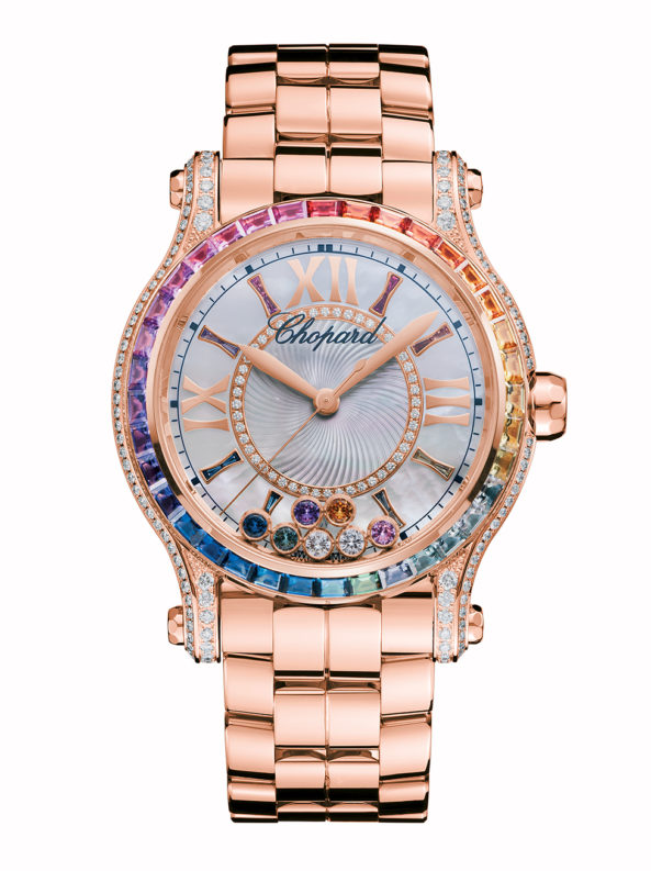 Happy Sport 36 MM Automatic Watch 18-carat rose gold, coloured stones and diamonds