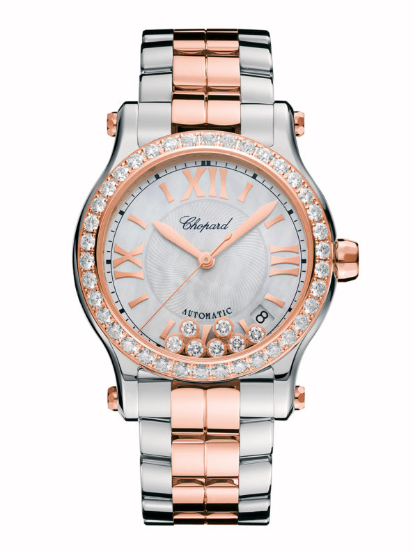 Happy Sport 36 mm automatic 18-carat rose gold, stainless steel and diamonds