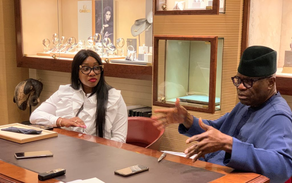 Executive Director, Polo Limited, Jennifer Obayuwana and Managing Director, Polo Limited, John Obayuwana during the Media unveiling of the Omega Wristwatch Brand by Polo Limited in Lagos