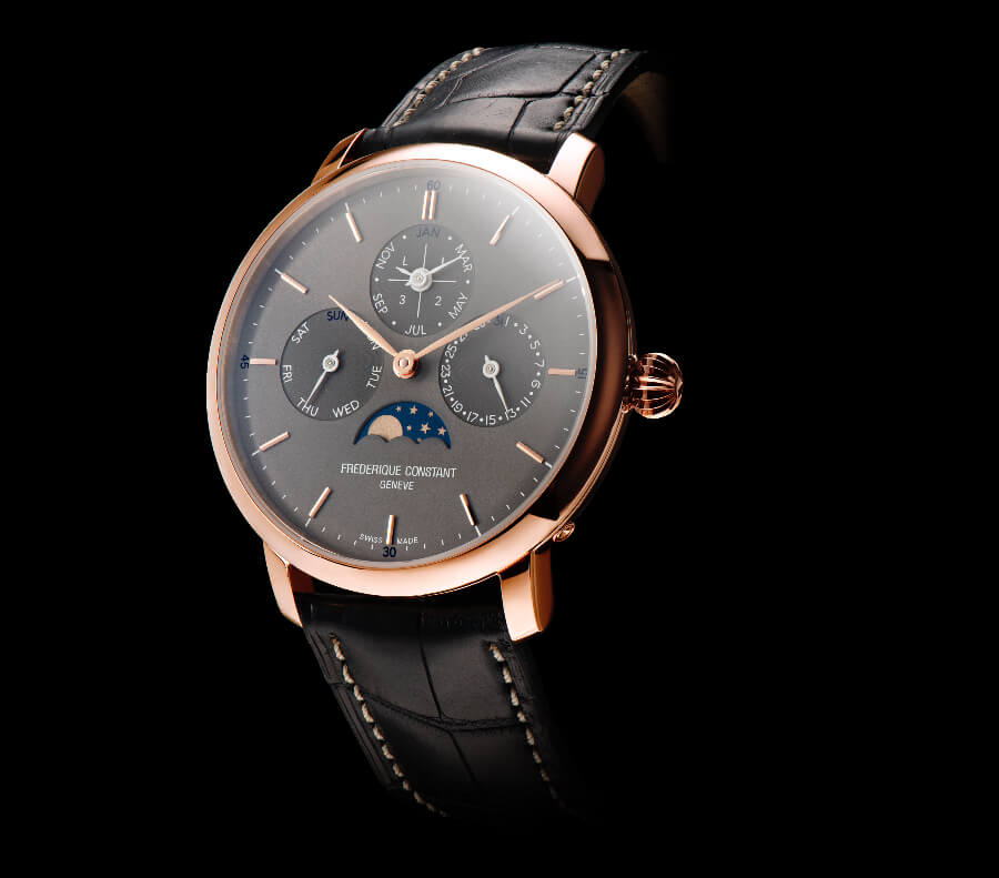 Frederique Constant New Slimline Perpetual Calendar Manufacture Timepiece In Gold - Polo Luxury