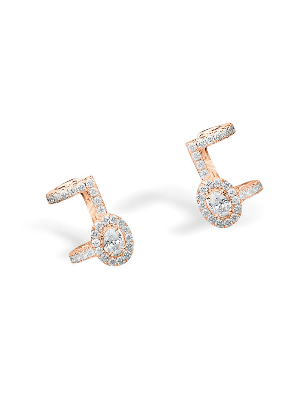 Glam' Azone right pave earrings - Oval shape diamonds / Upper part closing with clasp/ specific jewellery box