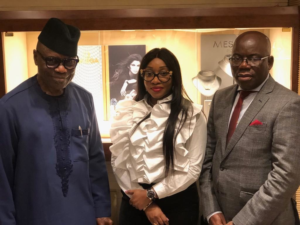 Managing Director, Polo Limited, John Obayuwana; Executive Director, Polo Limited, Jennifer Obayuwana and Head of Sales, Polo Limited, Chuks Enwelem during the Media unveiling of the Omega Wristwatch Brand by Polo Limited in Lagos